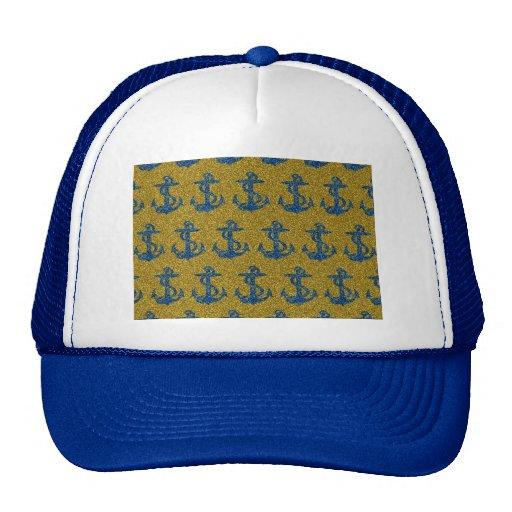 cool anchor pattern on blue & gold glitter effect trucker hat