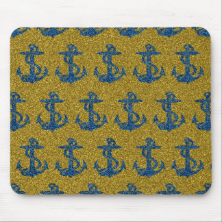 cool anchor pattern on blue & gold glitter effect mouse pad