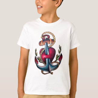 Cool Anchor Tattoo With Pierced Heart T-Shirt