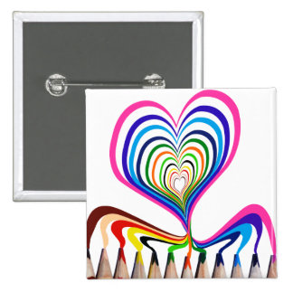 cool and beautiful Hand painted hearts with color 2 Inch Square Button