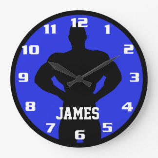Cool and Classic Bodybuilder Monogram Gym Fitness Large Clock