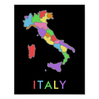 Cool and Colorful Pastel Rainbow Map of Italy Poster