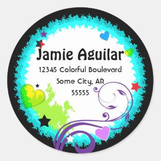 Cool and Contemporarty Color Splash Address Label