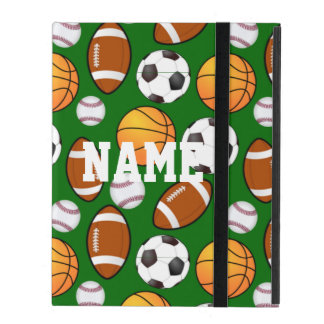 Cool and Customizable Sports Theme On turf Green iPad Folio Cases