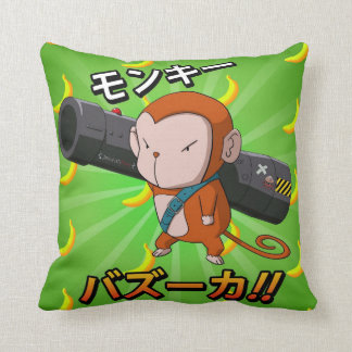 Cool and Cute Monkey with a Bazooka Throw Pillow