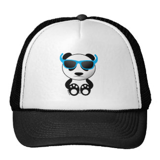 Cool and cute panda bear with sunglasses trucker hat