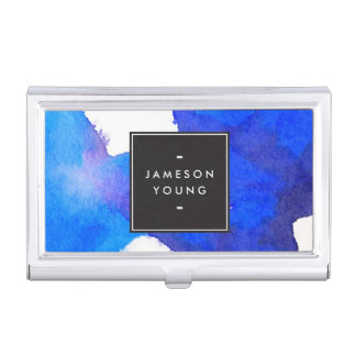Cool and Elegant Abstract Blue Watercolor Business Card Case