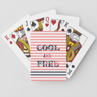 """Cool and Free"" quote floral stripes pattern Card Deck"