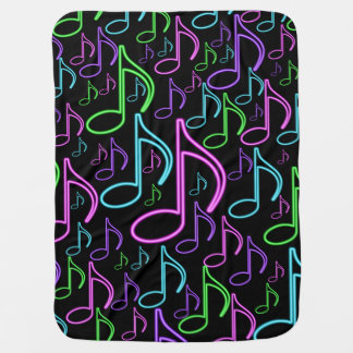 Cool and Fun Neon Music Note Collage Baby Blanket