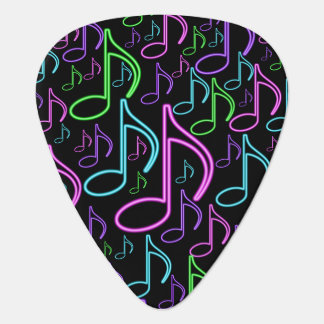 Cool and Fun Neon Music Note Collage Guitar Pick