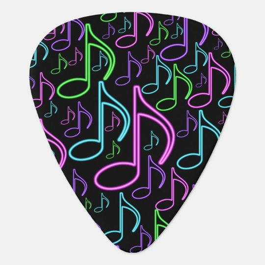 cool and fun neon music note collage guitar pick zazzle. Black Bedroom Furniture Sets. Home Design Ideas