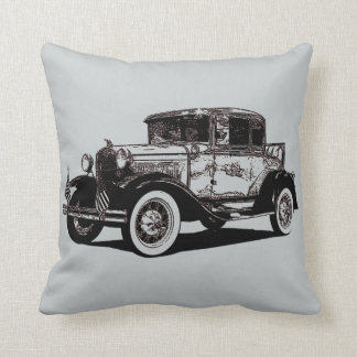 Cool and Fun Photo Illustration of Antique Car Throw Pillow