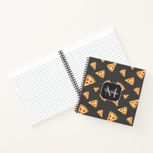 c94206b7decbc8 Cool and fun pizza slices pattern Monogram Notebook