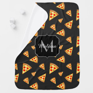 Cool and fun pizza slices pattern Monogram Stroller Blanket