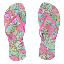 Cool and funny donut pattern flip flops