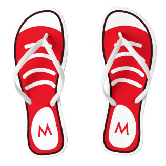 Cool and Funny Red Sneaker Shoes Look Monogram Flip Flops