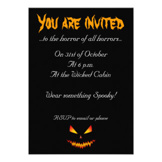 Cool and scary Jack O Lantern face Halloween Invitation