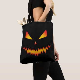 Cool and scary Jack O'Lantern face Halloween Black Tote Bag