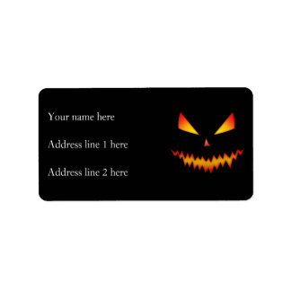 Cool and scary Jack O'Lantern face Halloween Address Label