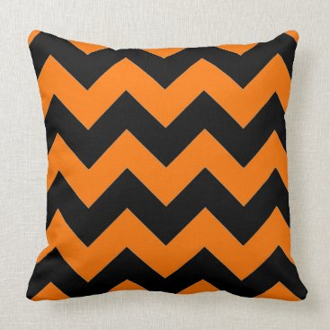 Halloween Themed Cool and Stylish Orange and Black Chevron Pattern Throw Pillow