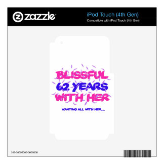 Cool and trending 62nd marriage anniversary design iPod touch 4G decals