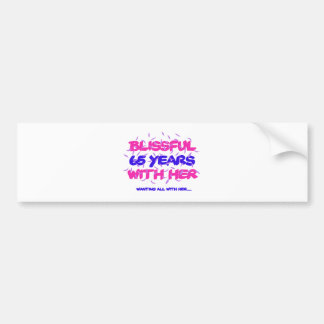Cool and trending 65th marriage anniversary design bumper sticker