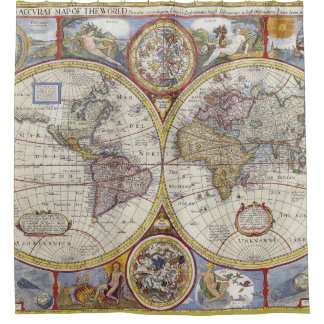 Vintage world map shower curtains zazzle cool and unique vintage old world map shower curtain sciox Gallery