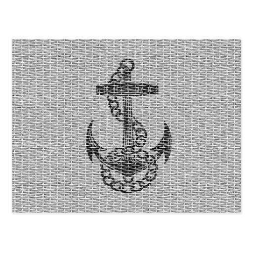 Cool antique black anchor painted postcard