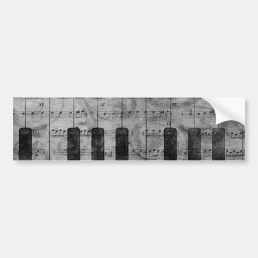 Cool antique grunge effect piano music notes bumper stickers