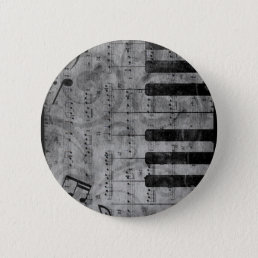 Cool antique grunge effect piano music notes button