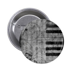 Cool Antique Grunge Effect Piano Music Notes Button at Zazzle