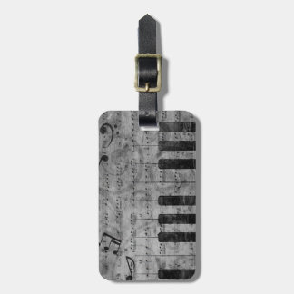Cool antique grunge effect piano music notes travel bag tag