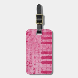 Cool antique grunge effect piano music notes luggage tags