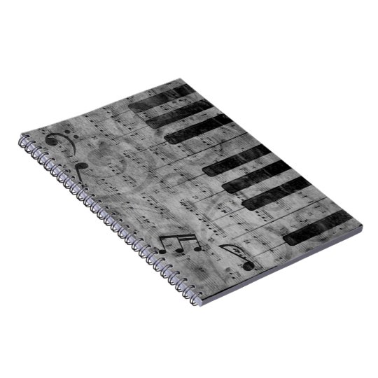 Cool antique grunge effect piano music notes notebook