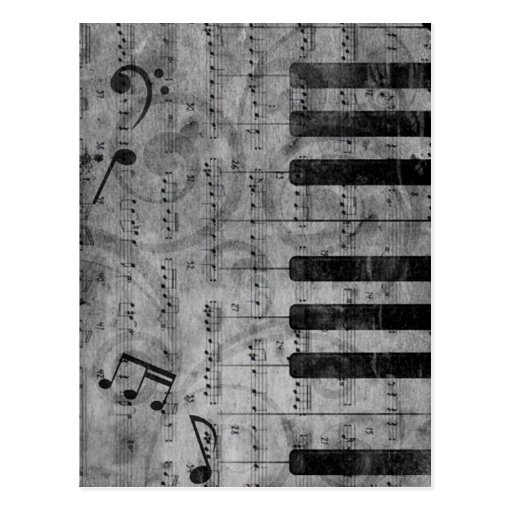 Cool antique grunge effect piano music notes postcards