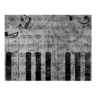 Cool antique grunge effect piano music notes postcard
