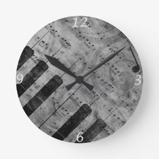 Cool antique grunge effect piano music notes round clock