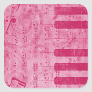 Cool antique grunge effect piano music notes square sticker