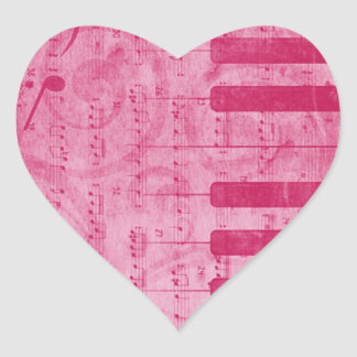 Cool antique grunge effect piano music notes heart stickers