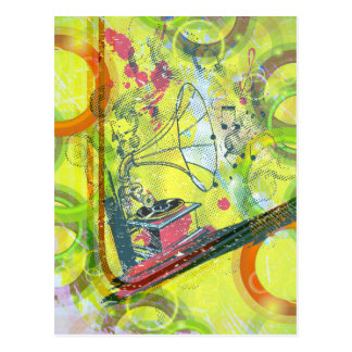 Cool Antique music player music notes colourful Postcard