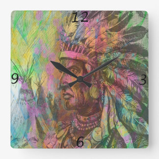Cool antique native american Indian clipart colour Square Wallclocks