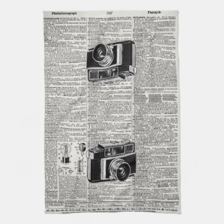 Cool Antique Newsprint Retro Film Camera Hand Towel