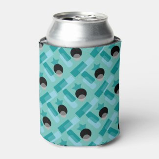 Cool Aqua and Black Can Cooler