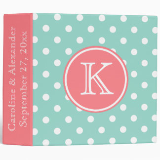 Cool Aqua and Coral Pink Monogram Wedding 3 Ring Binder