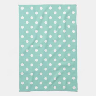 Cool Aqua and White Polka Dot Kitchen Towel