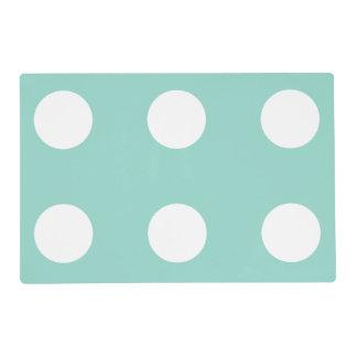 Cool Aqua and White Polka Dot Reversible Laminated Place Mat