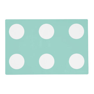 Cool Aqua and White Polka Dot Reversible Placemat