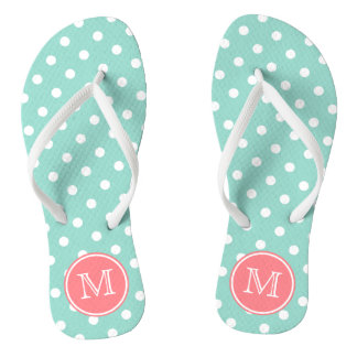 Cool Aqua and White Polka Dots with Coral Pink Flip Flops