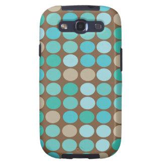Cool Aqua Blue Teal & Brown Dots Modern Pattern Galaxy SIII Cover