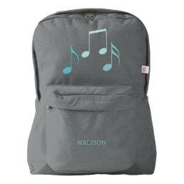 Cool Aqua Music Notes Backpack